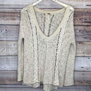 Free People Open Knit Sweater M V-Neck Oatmeal